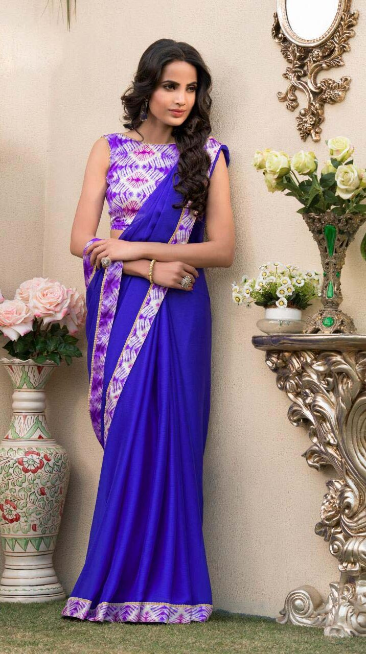 New designer blue color daily uses saree with price