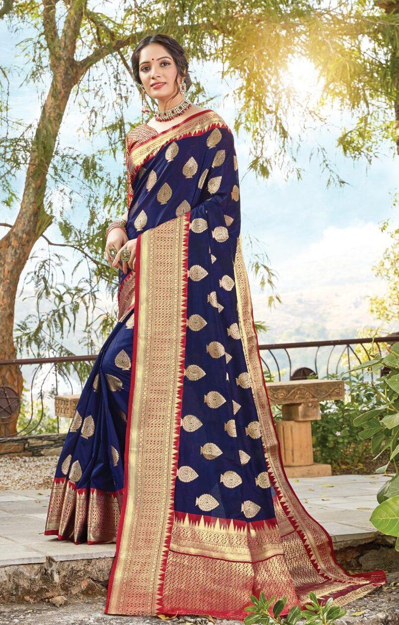 New designer blue color dola silk saree price.