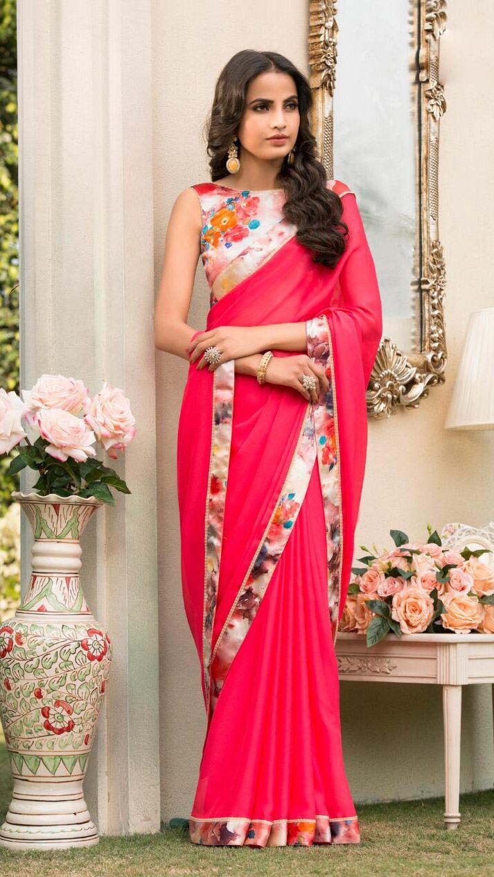 New designer contrast blouse with saree