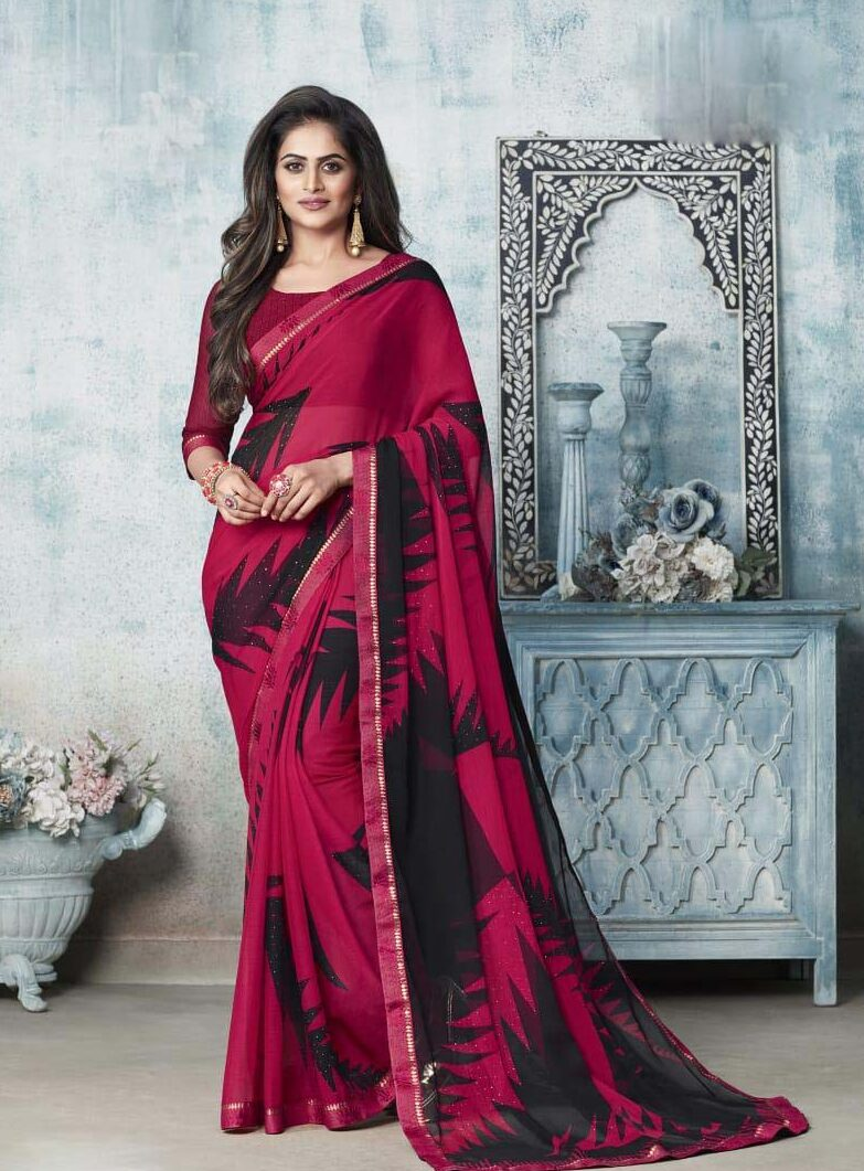 New designer dark pink chiffon saree printed.