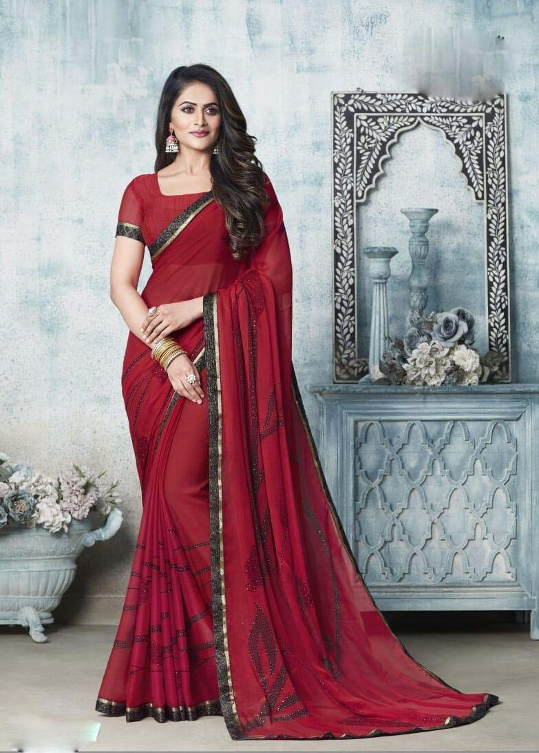 New designer dark red chiffon georgette saree.