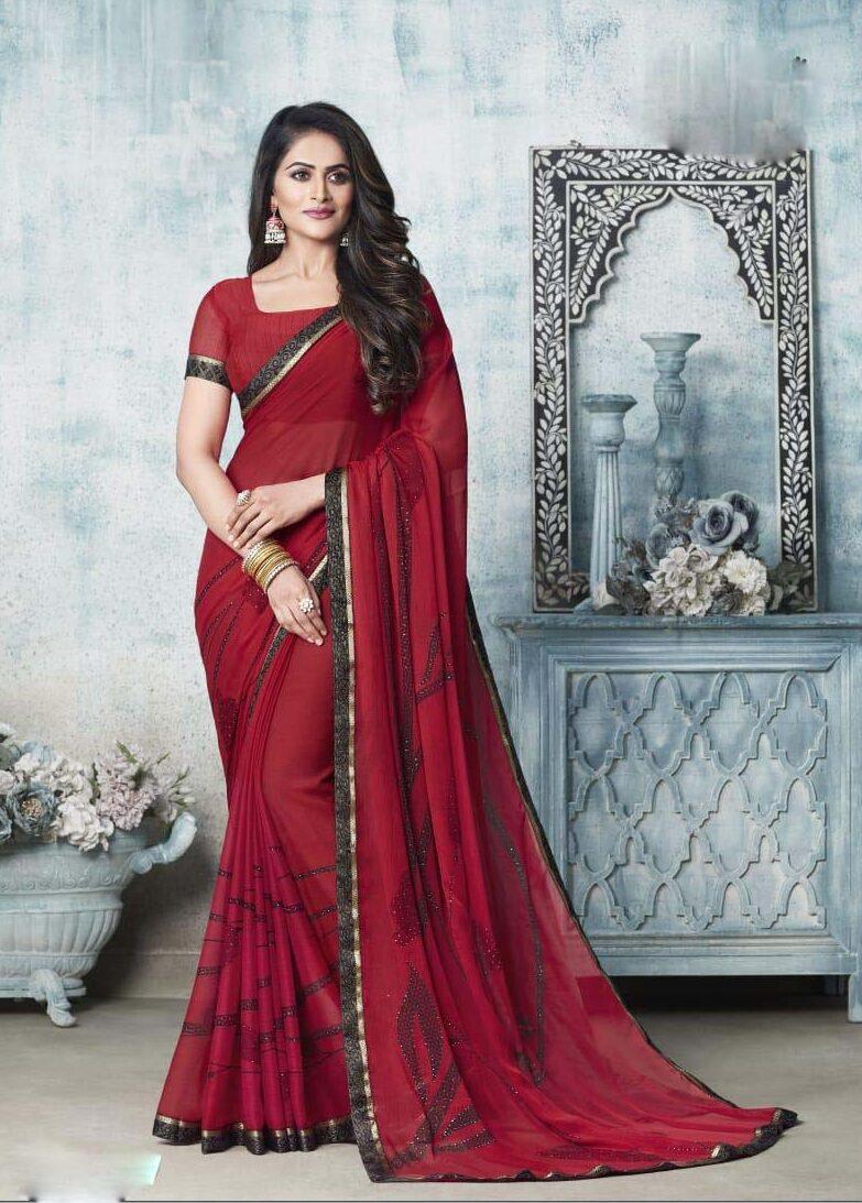 New designer dark red chiffon georgette saree.