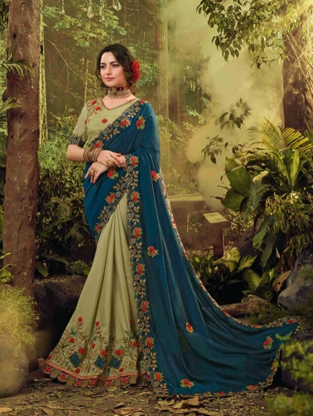 New designer gray color bridal fancy saree party wear.