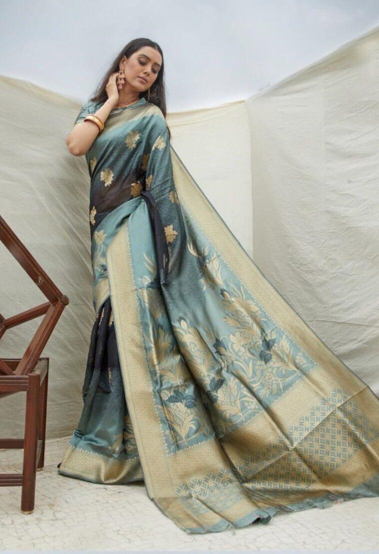New designer gray color handloom sarees designs.