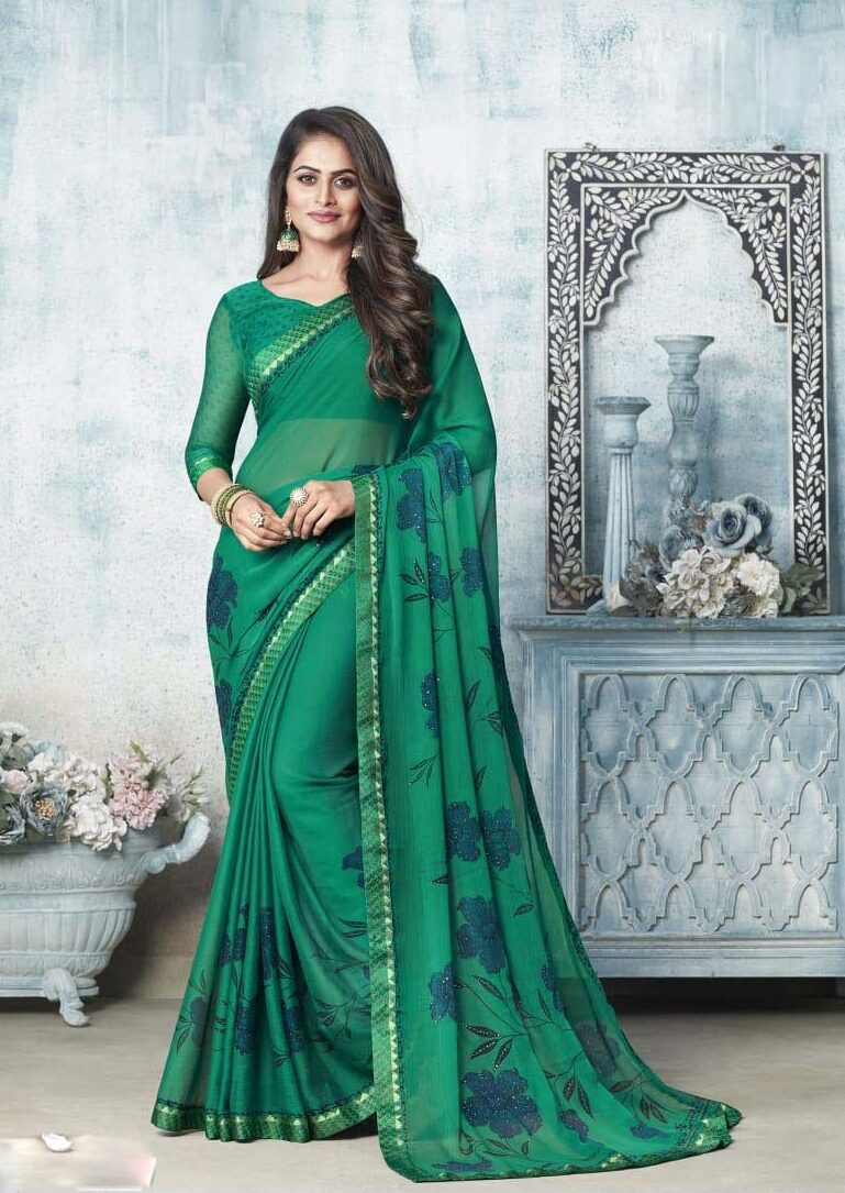 New designer green color chiffon saree party wear.
