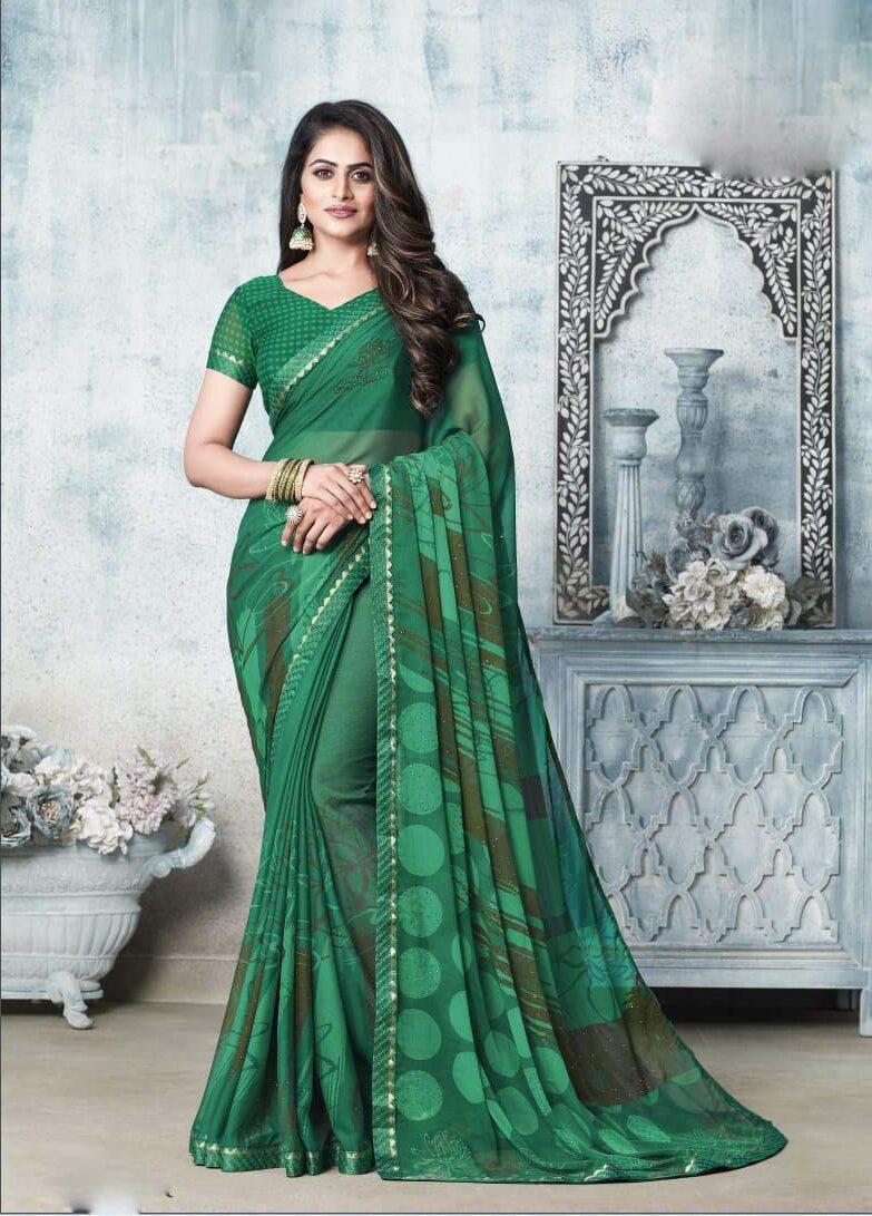 New designer green color chiffon sarees online.