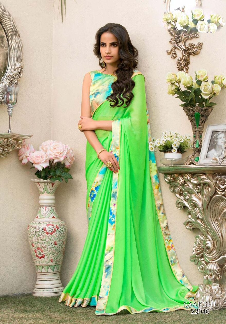New designer green color contrast blouse for saree