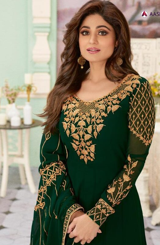 New designer green color embroidery gowns party wear