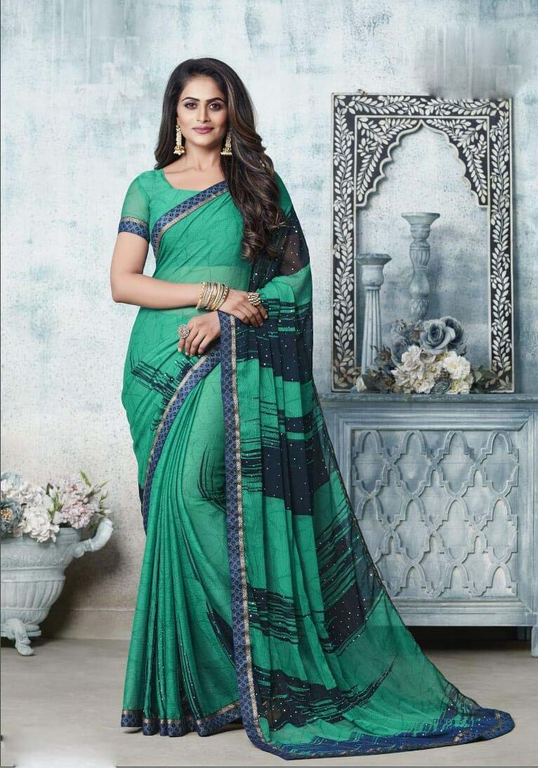 New designer light green color chiffon saree with price.
