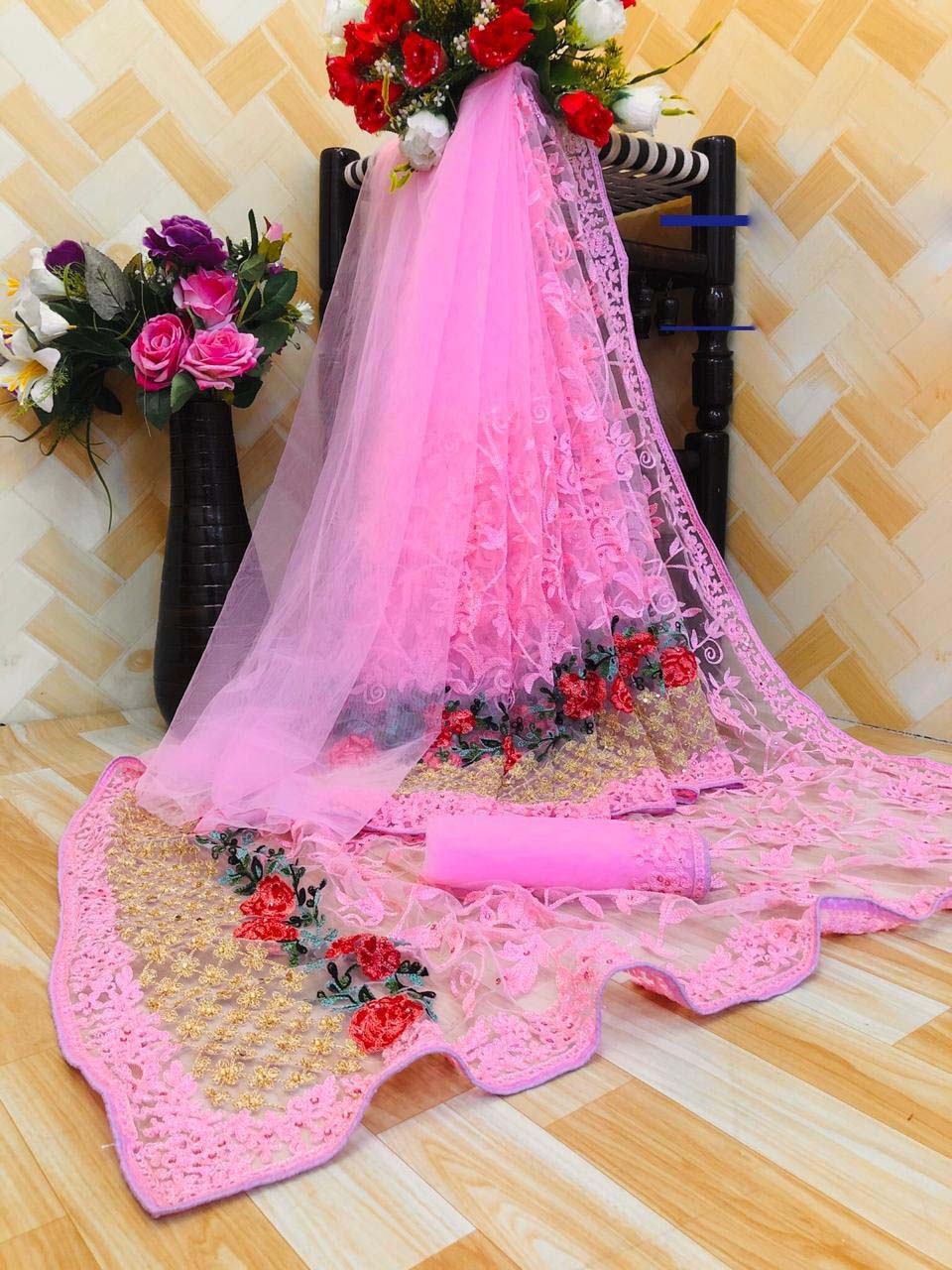 New designer light pink color karwa chauth special saree look