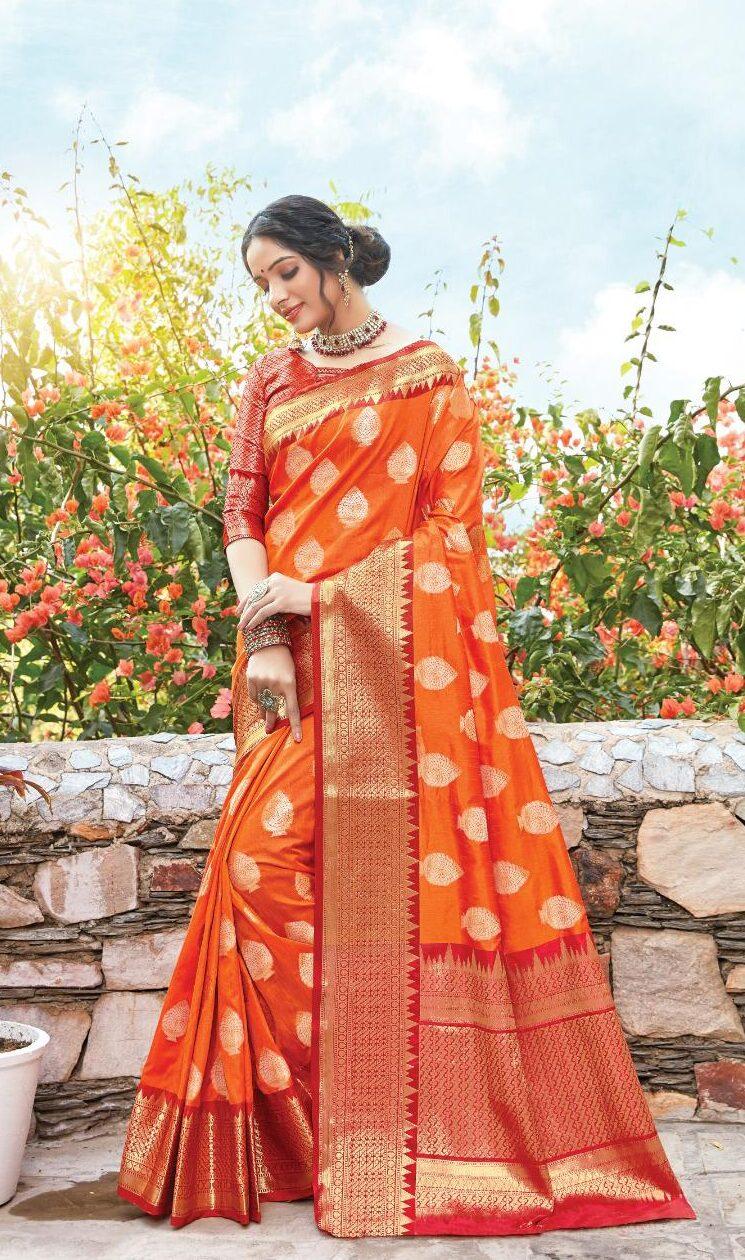 New designer orange color dola silk saree.