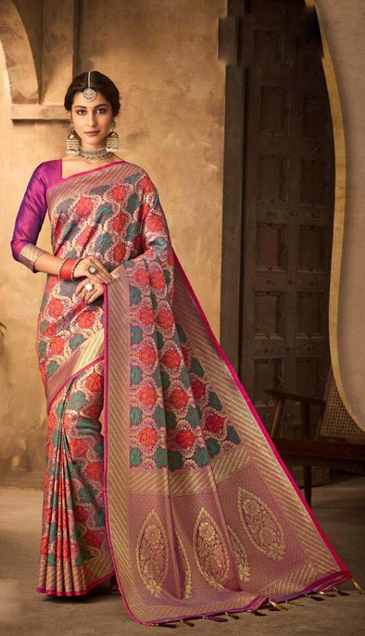New designer dark pink color silk saree with price.