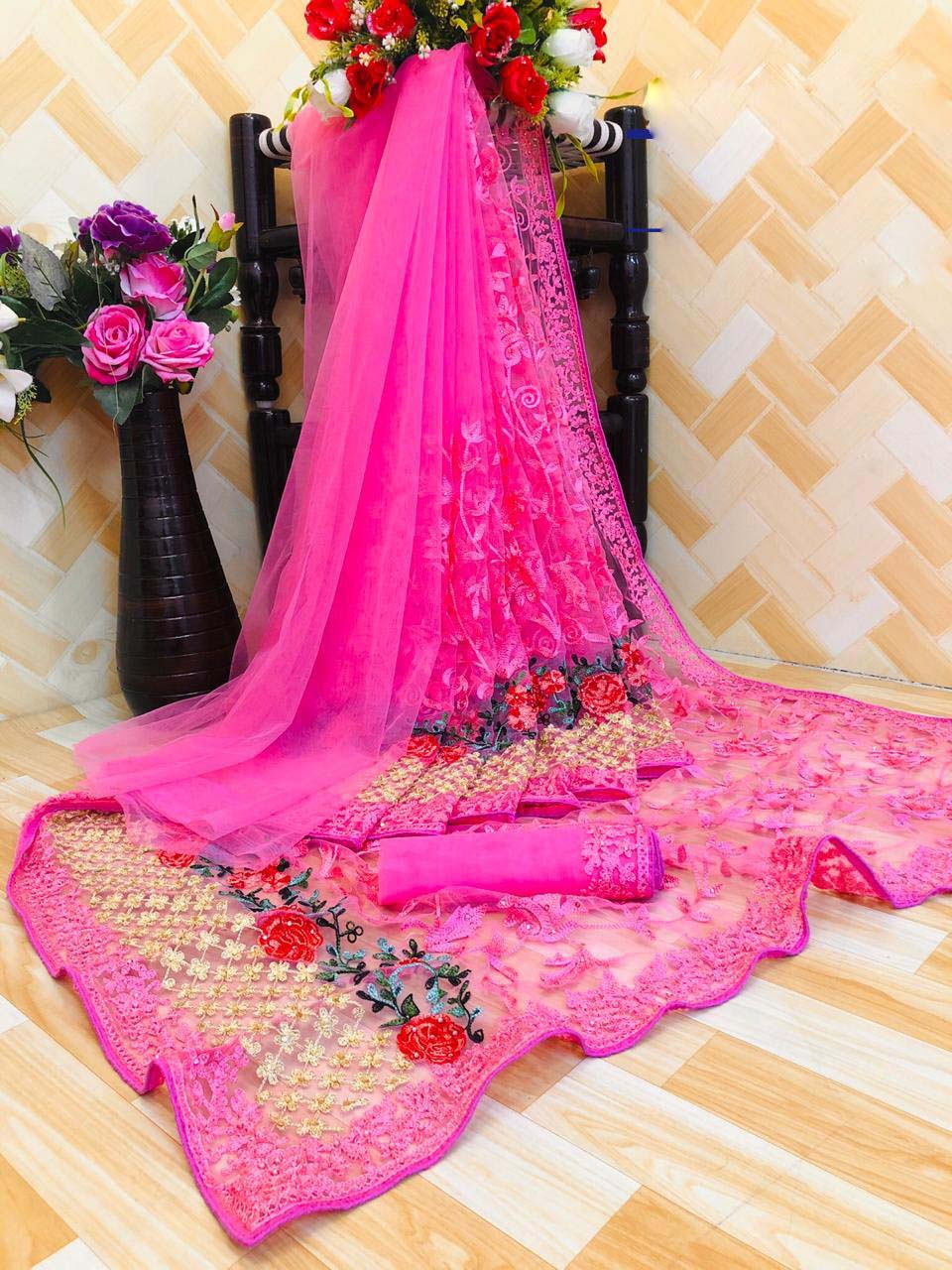 New designer pink color net saree blouse using as karwa chauth.