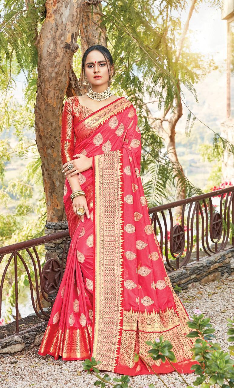 New designer pink color silk saree blouse.