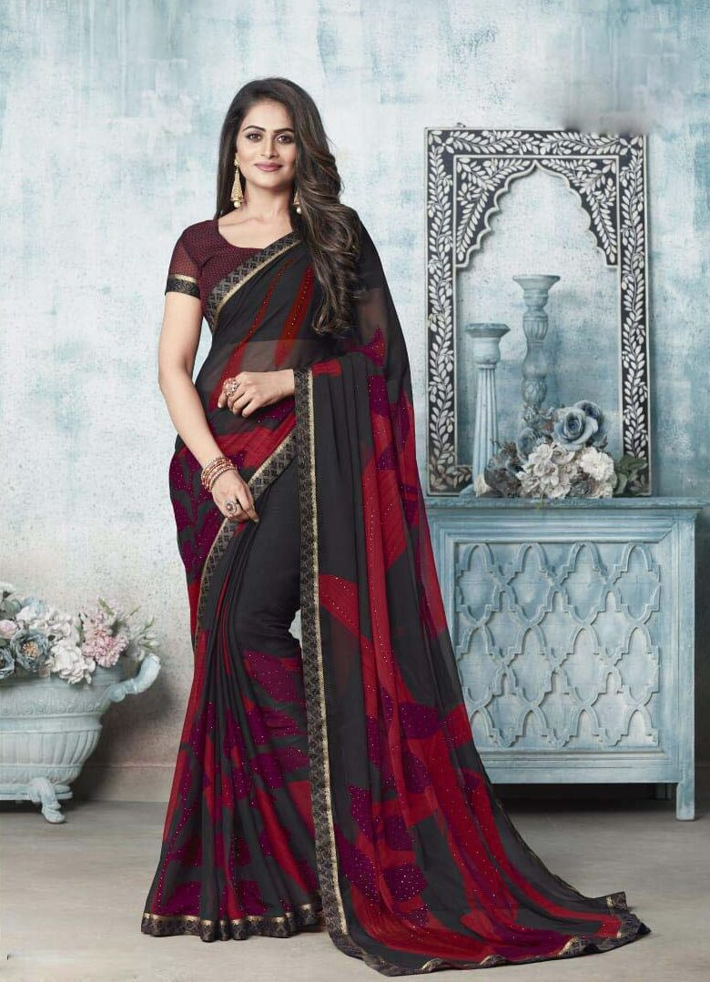 New designer red and black chiffon saree.