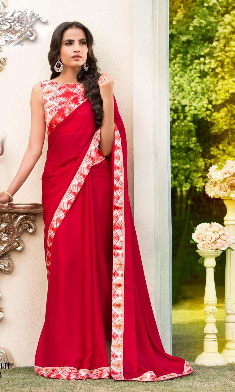 New designer red color contrast blouse with saree.
