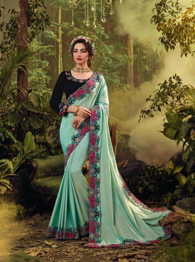 New designer sky blue color bridal fancy saree with price.
