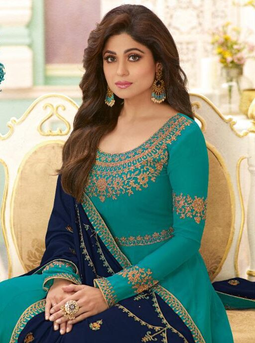 New designer sky blue embroidery gowns for wedding