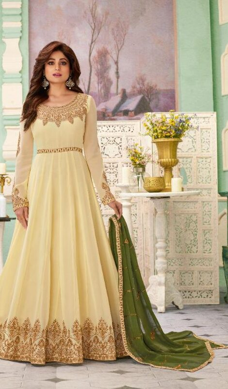 New designer white color embroidered georgette gown.