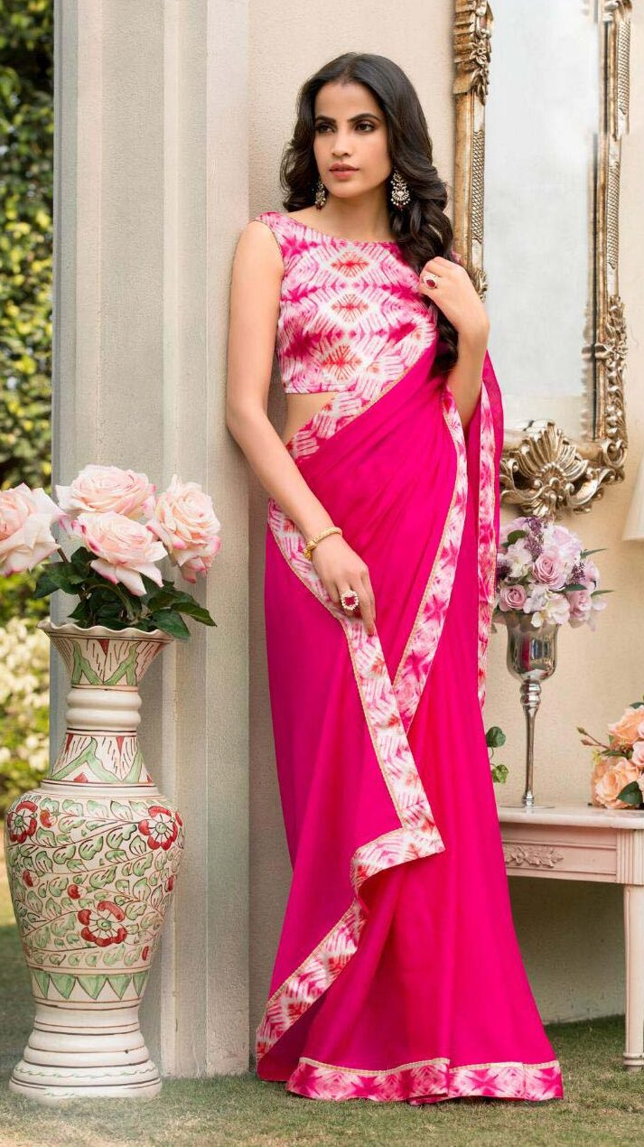 New designer pink color contrast saree blouse combination