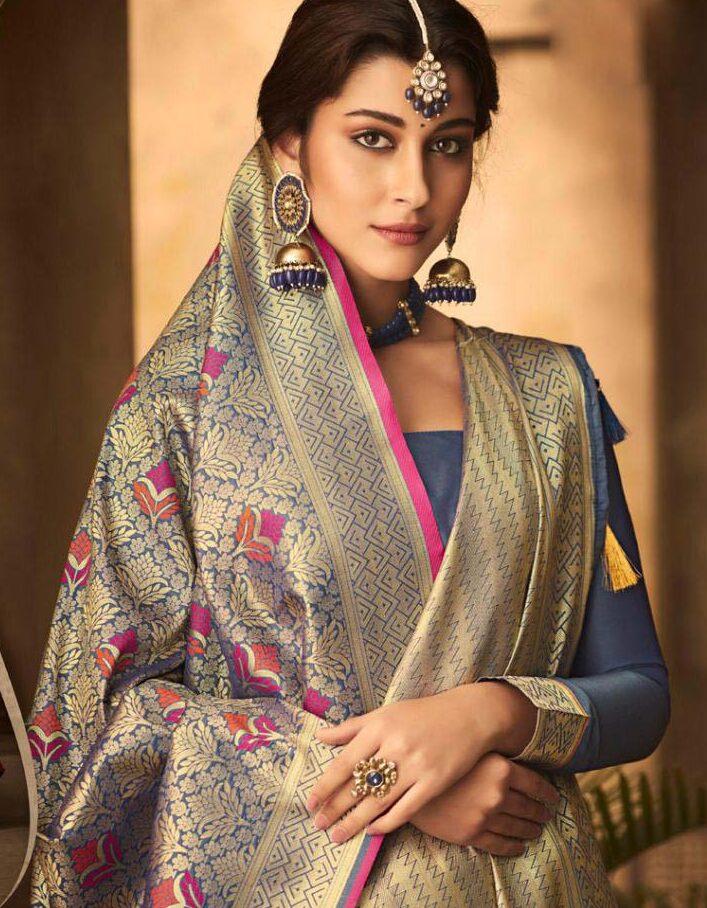 New trend designer banarsi silk saree with wedding