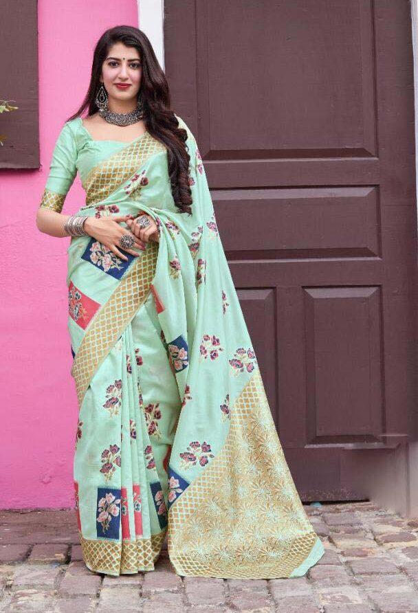 New trend designer cotton silk saree party wear.