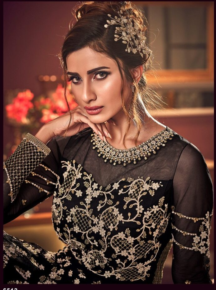 New Designer Black Color Indian Wedding Bride Gown With Price