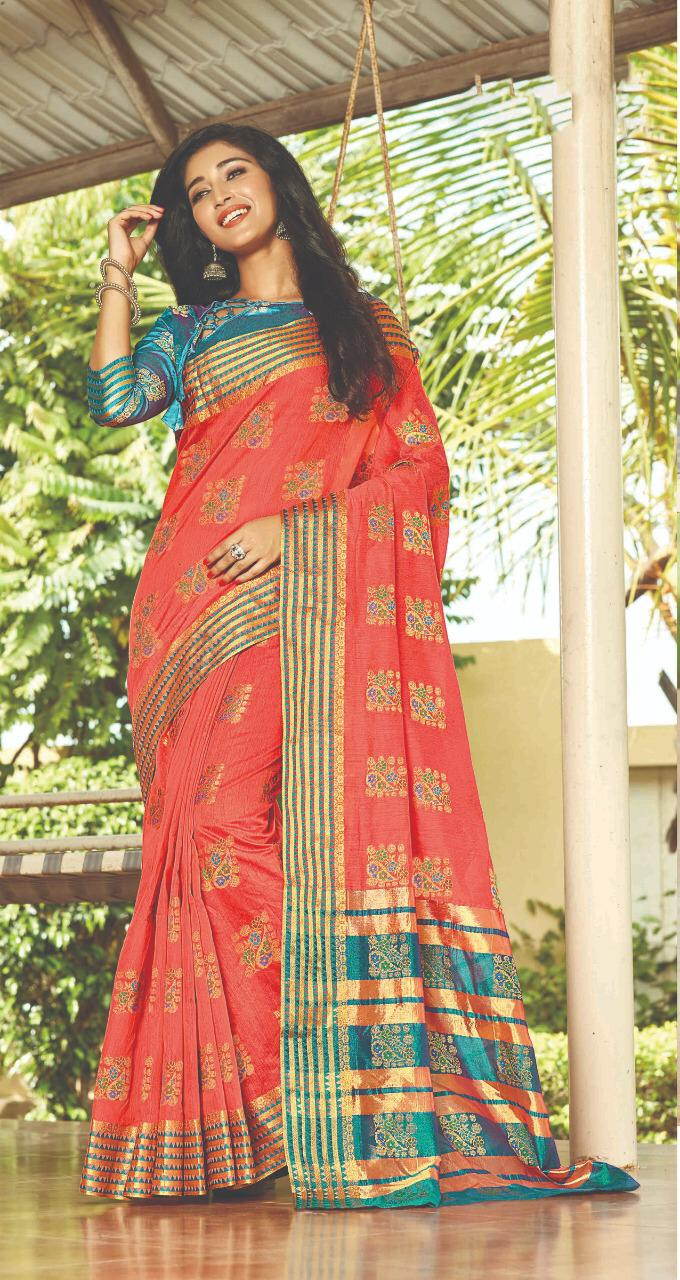 Party Wear Designer Blouse Silk Saree Below 2000
