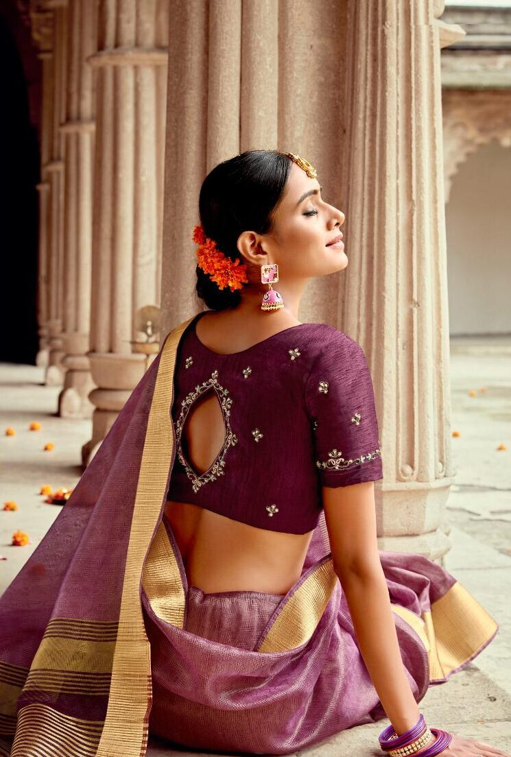 Plum Colour Silk Saree Latest Blouse Designs