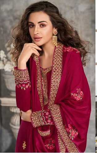 Plum Red Designer Embroidered Tussar Silk Salwar Suits Online Shopping