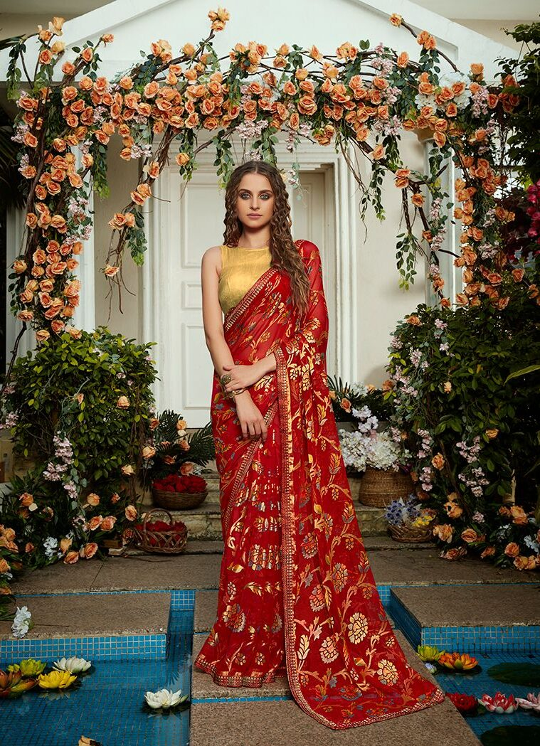 Red Saree with Contrast Blouse in Golden Metallic