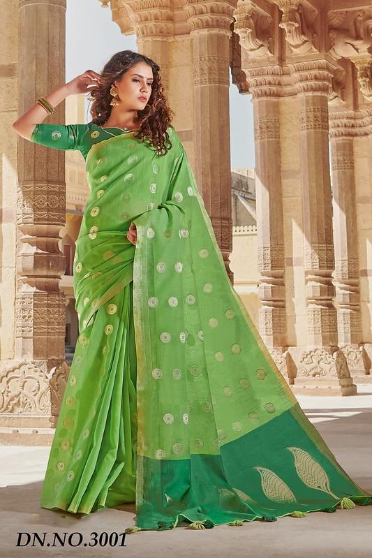Rich Pallu Linen Cotton Saree in Light Green