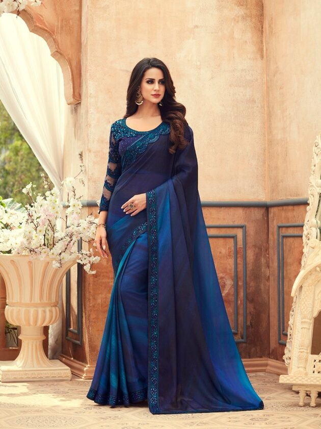 Royal Blue New Designer Party Wear Saree for Ladies