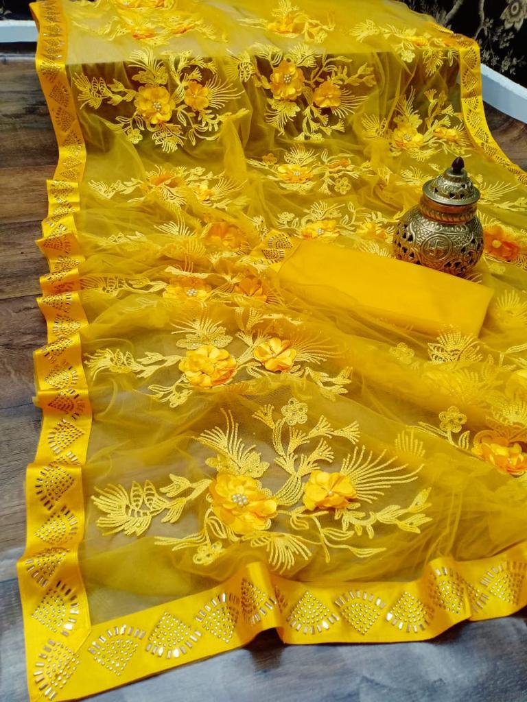 Turmeric Yellow Designer New Saree Design 2020