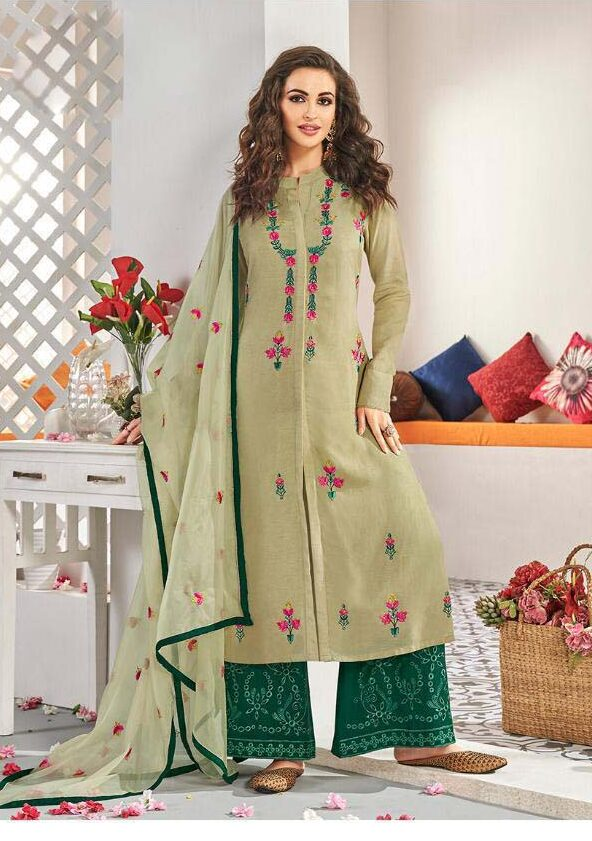 New Designer Light Green Pantone Color Heavy Work Salwar Kameez