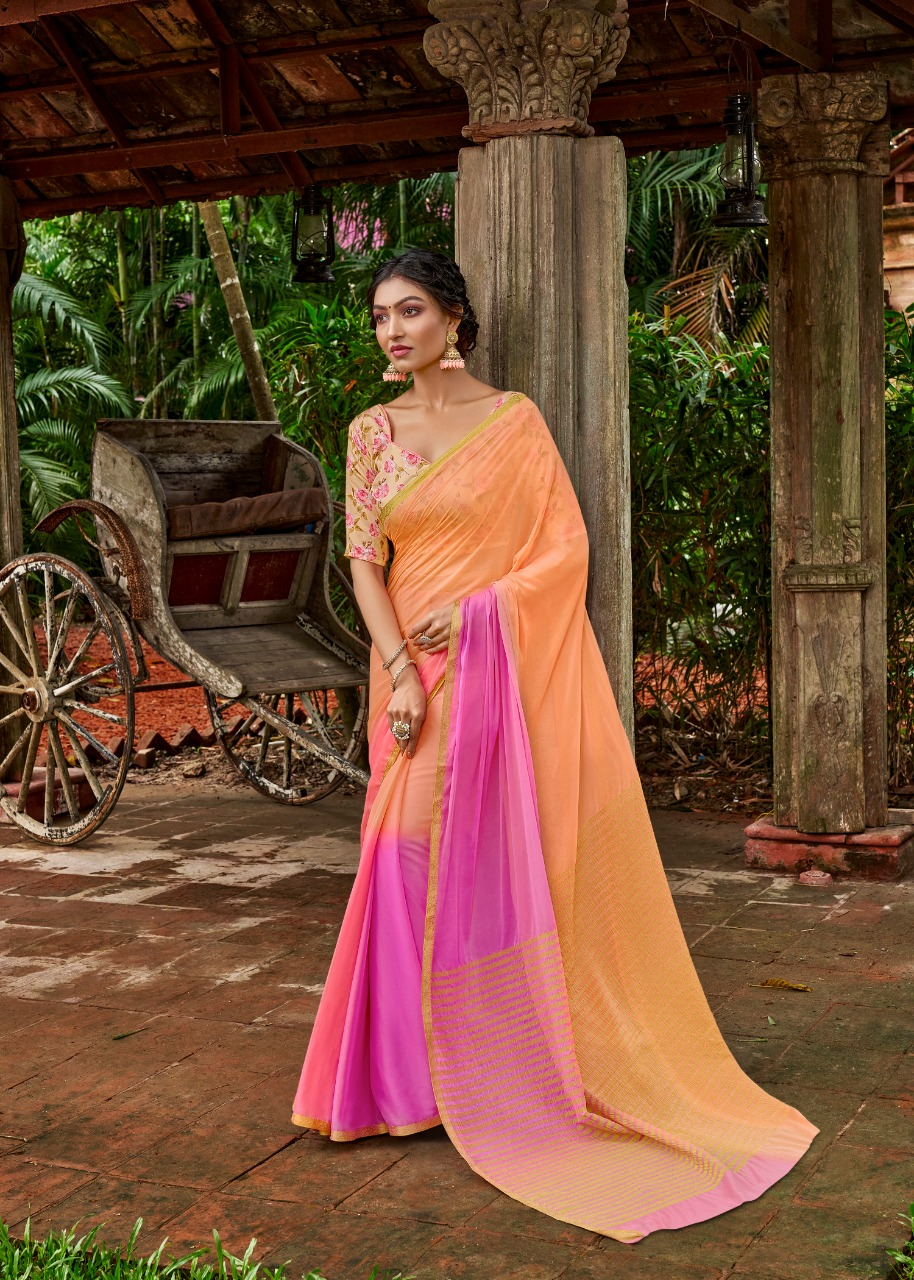 Plain Chiffon Sarees with Contrast Blouse