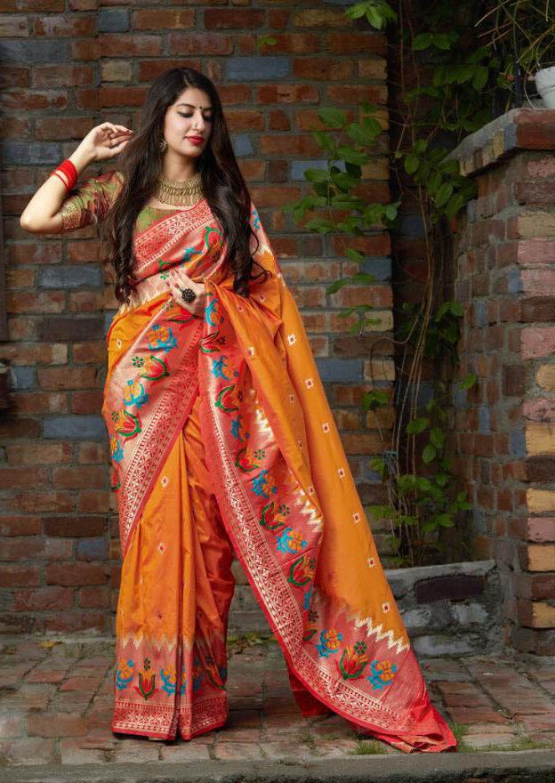 Best Designer Haldi Color Silk Saree With Contrast Silk Blouse