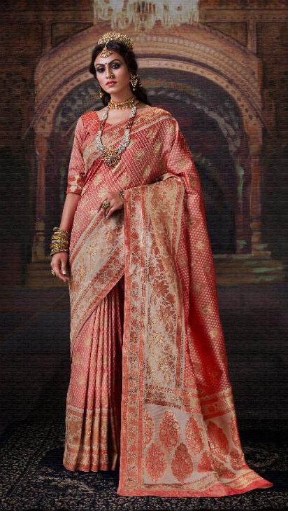 Best Designing Royal Banarsi Silk Saree With Embroidery Blouse