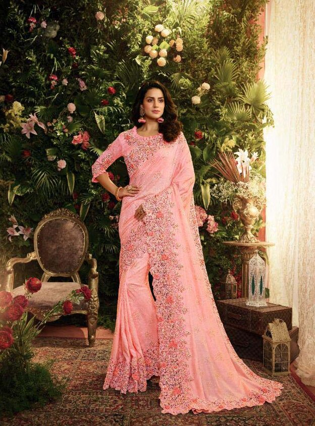 Best embroidered Cream pink color heavy silk saree with blouse