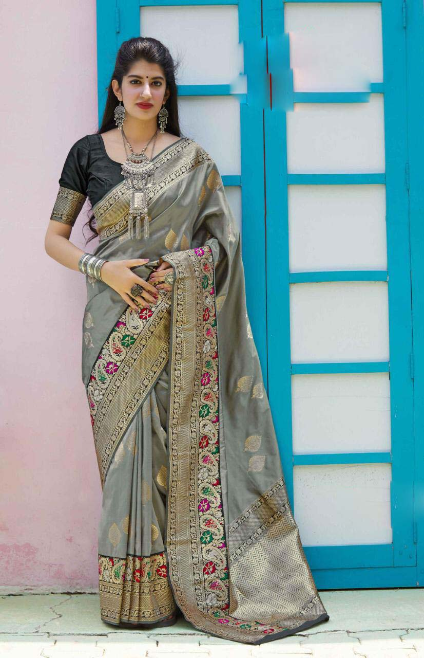 Best embroidered designer gray color silk saree with contrast blouse.