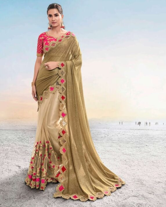 Best embroidered heavy net work bridal saree with a price