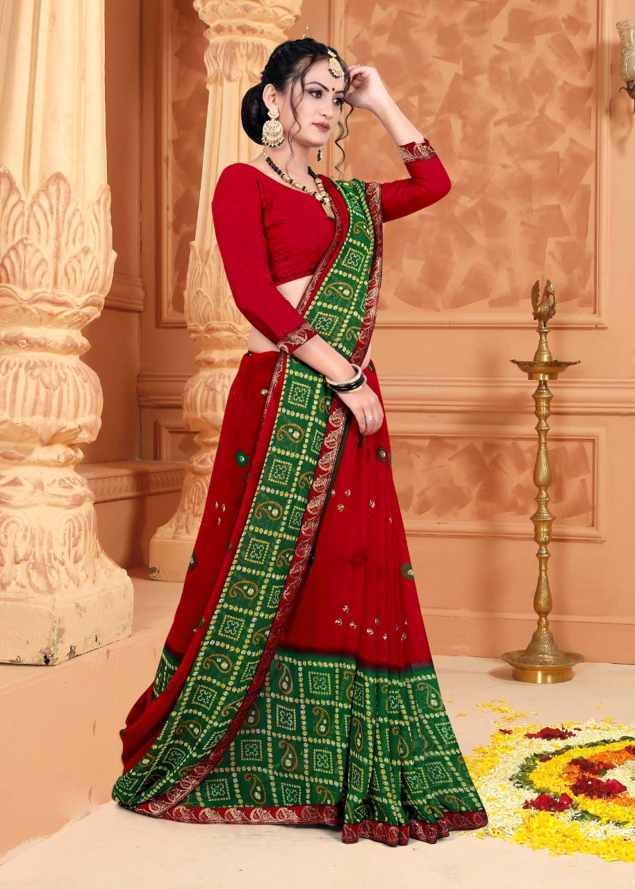 Best embroidered red and green color casual wear saree with a price.