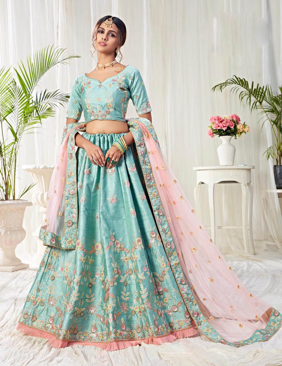 Best embroidered sky-Blue color Banglori silk bridal lehenga