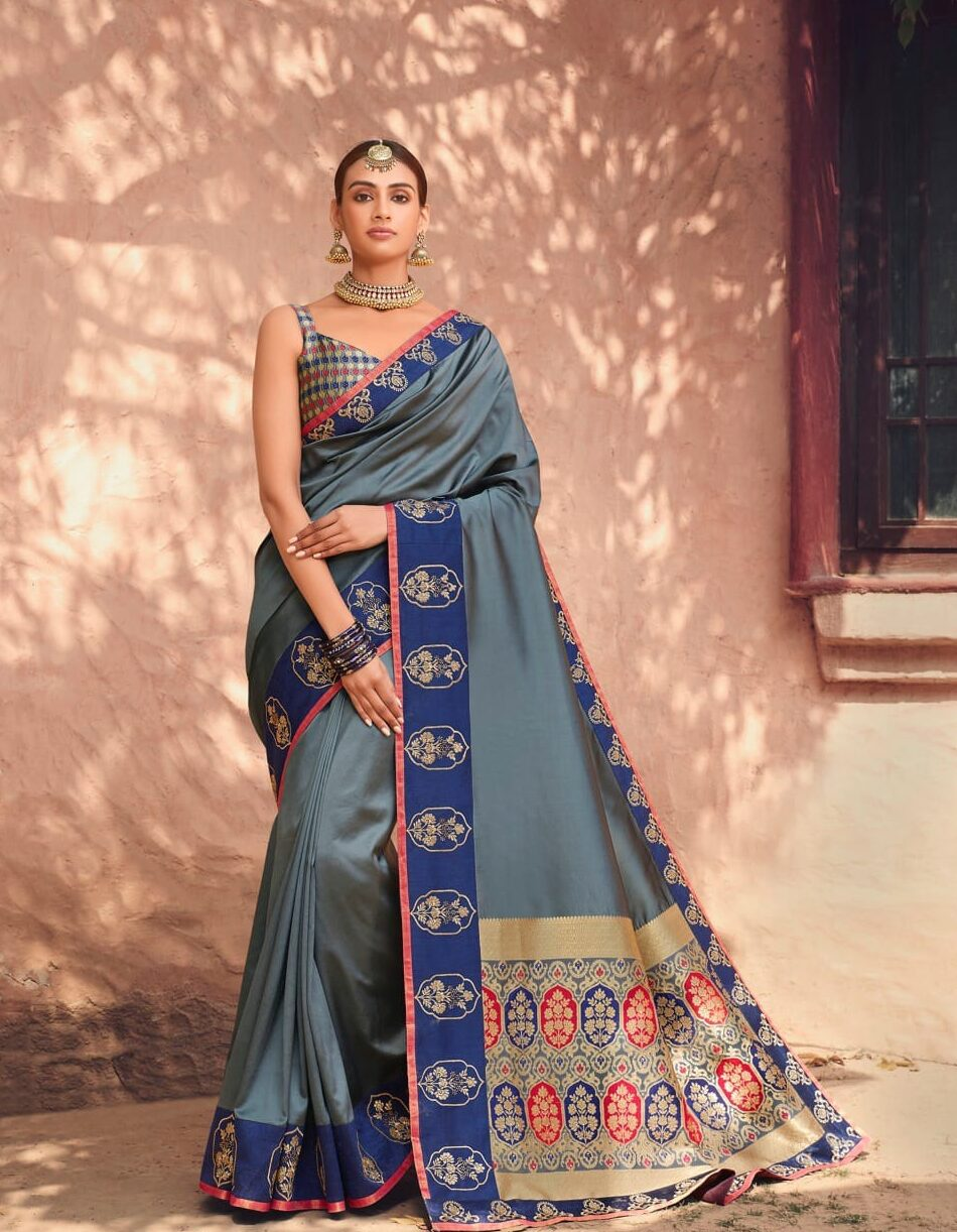 Best embroidered grey color a heavy wedding designer saree