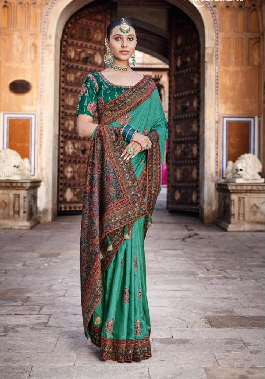 Best georgette green color dola silk bridal saree with trendy blouse