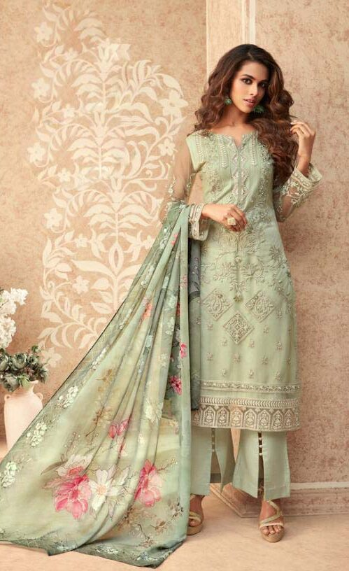 Best net embroidered light green color suit with printed dupatta.