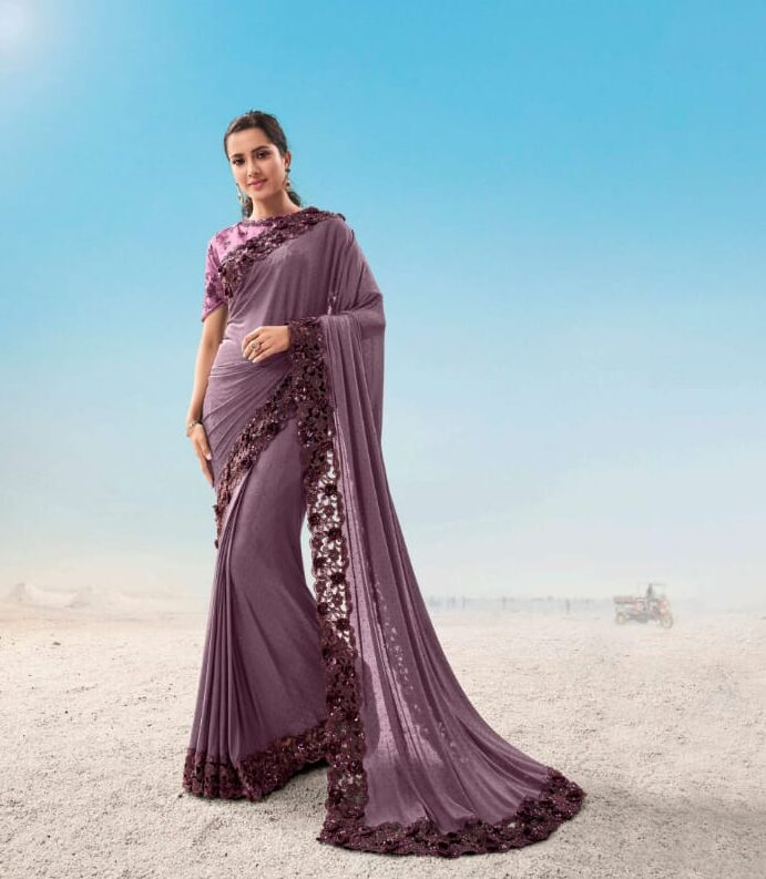 Best traditional heavy work saree with georgette blouse