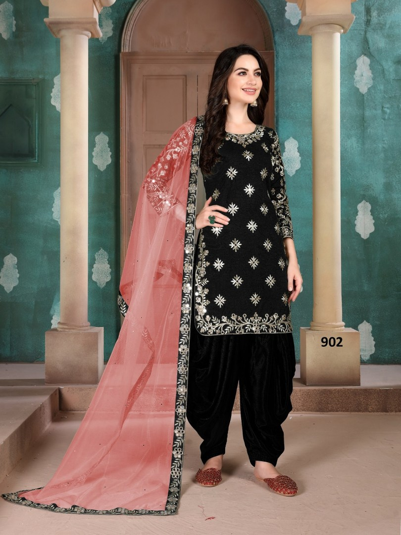 Heavy Embroidered Black Patiala Salwar Suits Punjabi