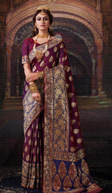 Brand New Queen Style Maker Wine Color Bridal Banarsi Silk Saree