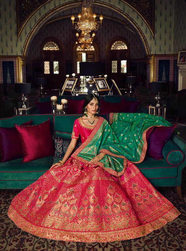 Current Inclination Maker Red Color Lehenga With Green Dupatta